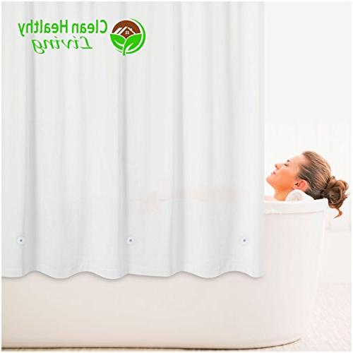 Clean Living Premium PEVA Shower Curtain with suction cups and magnets keep it in place. 70 71 in. long - White