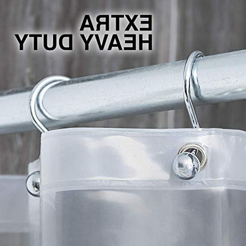 Heavy Duty PEVA Shower Curtain - Thickness, Resistant, Non-Toxic w/No Chemical Smell