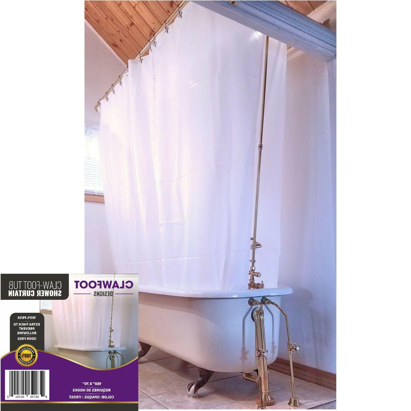 Clawfoot Designs Heavy PEVA Tub Shower Curtain Opaque No Odor Extra Wide 180x70