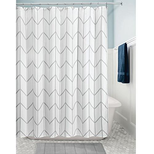 mDesign Chevron Zig-Zag Print - Fabric Curtain Showers, Machine Washable - x