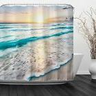 Home Bathroom Decorative Polyester Fabric Printed Sea Beach