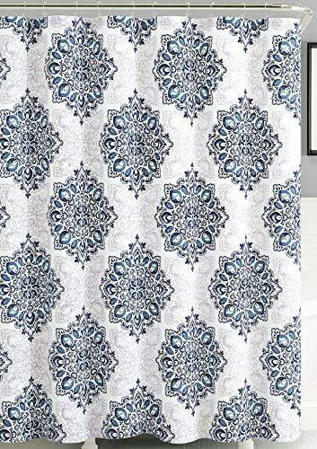 home tranquility navy blue white fabric shower