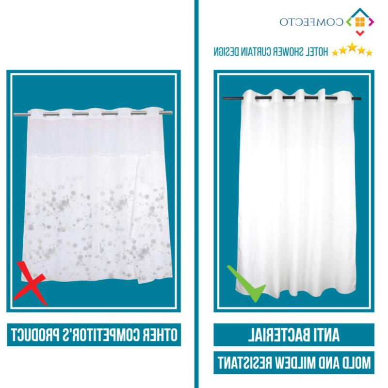 Hookless Curtain by COMFECTO Waterproof 70x74 Inch Bathro