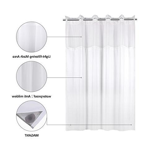 YQN Hookless with 70.8 74 Polyester Bath Curtain Mesh