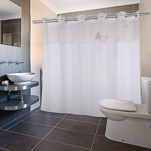 YQN Hookless Curtain with 74 Bath with Mesh Screen ABS Rings