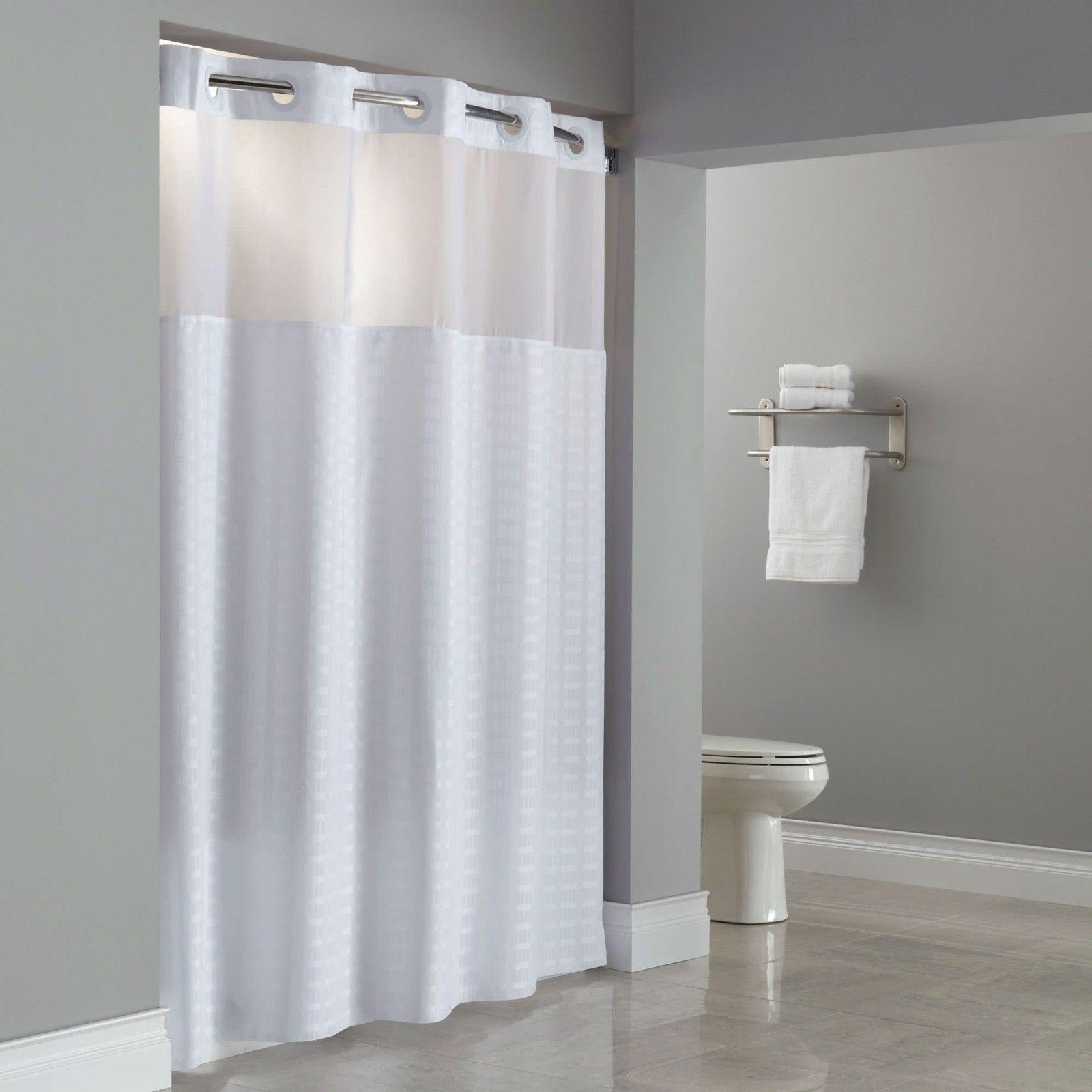Hookless Shower Curtain White Fabric Voile Window 71