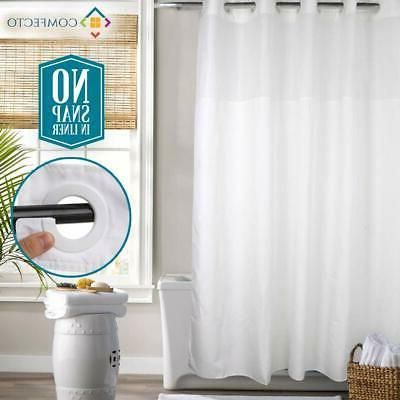 hookless shower curtain with light filtering mesh