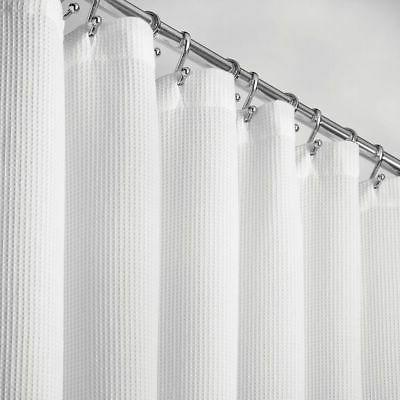 mDesign STALL SIZE Cotton Waffle Weave Fabric Shower Curtain