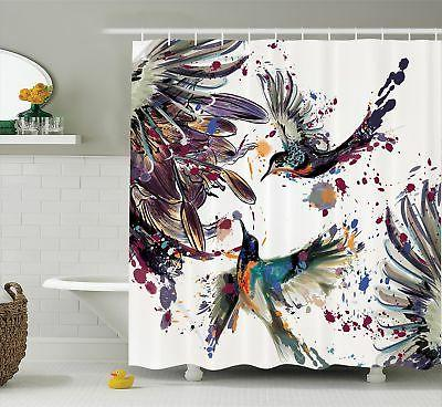 Ambesonne Hummingbirds Decorations Shower Curtain Set, Art W
