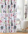 I Love Paris Fabric Shower Curtain Girl Bath Eiffel Tower Wh