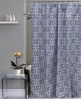 Kendricks Navy Blue and White Canvas Fabric Shower Curtain: