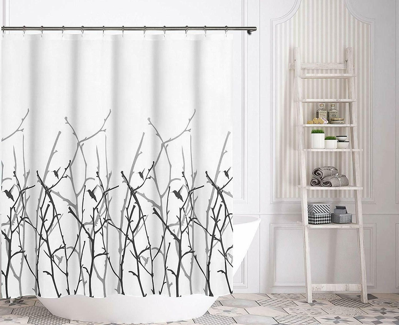 Kensie Vicki White Black 100% Cotton Fabric Shower Curtain,