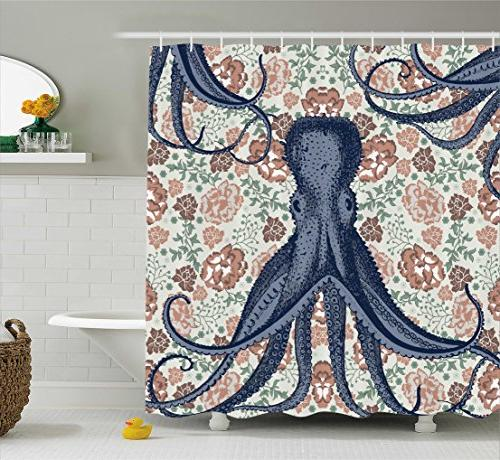 Ambesonne Kraken Shower Personalized Decor for Bathroom Octopus with Floral Design Decorations Multicolor Decorations, Beige Mint