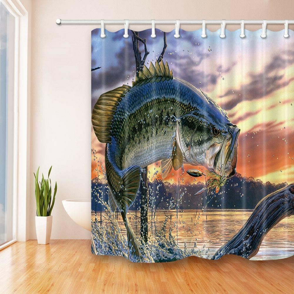 Large Bass Fish In Ocean Sunset Waterproof Fabric Bathroom S