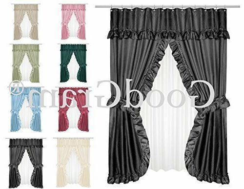 lauren dobby design double swag shower curtain