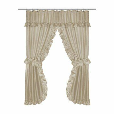 lauren double swag polyester shower curtain