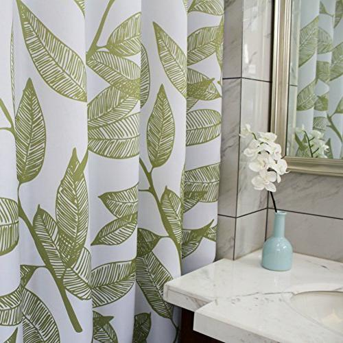 MangGou Leaves Fabric Curtain,Waterproof Bathroom Curtain,Decorative Shower Liner with 12 x 72