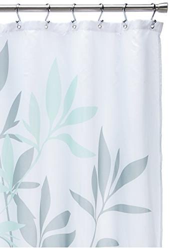 "InterDesign 35603 Leaves Fabric Shower Curtain Standard, 72"" 72"", Gray/Mint"