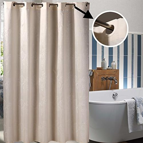 Sfoothome Light Beige White Pattern,Mildew Proof Waterproof Fabric Hookless Shower Curtain for Bathroom