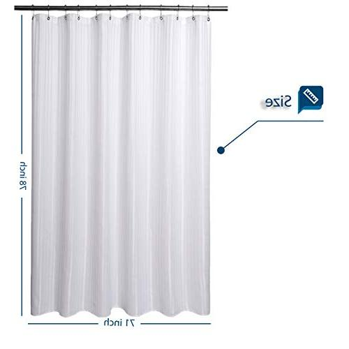 """Barossa Design Long Shower Curtain with 78 inches Hotel Washable,Water-Repellant and Midew Resistant White 71""""x78"""""""