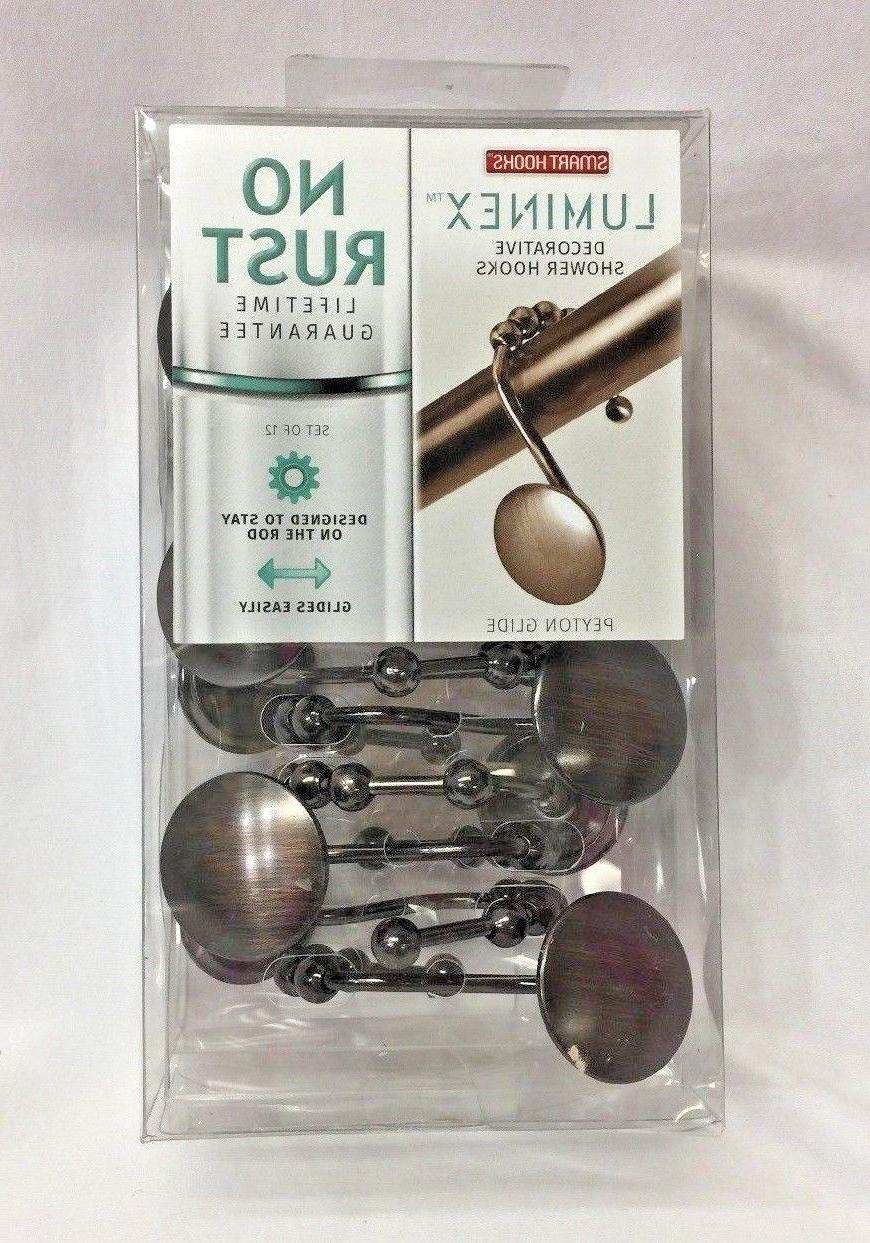 Maytex Mills Luminex Peyton Glide Shower Curtain Hooks No Rust Oil Rubbed Bronze