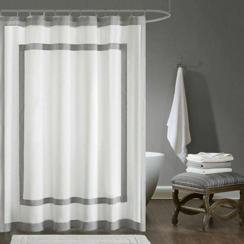 Luxury White & Charcoal Grey Border Cotton Fabric Shower Cur