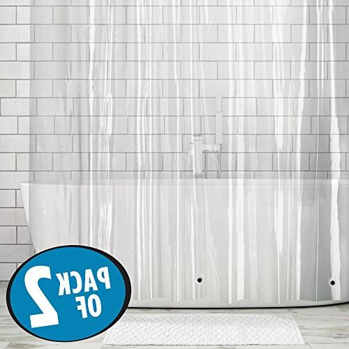 "mDesign 2 - Waterproof, Mold/Mildew Heavy Curtain Bathroom Showers and No Odor, - 3 Gauge, x 72"" Clear"