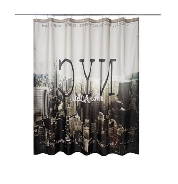 manhattan new york city fabric shower curtain