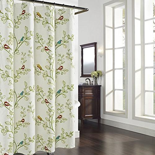 maria green leaves shower curtain