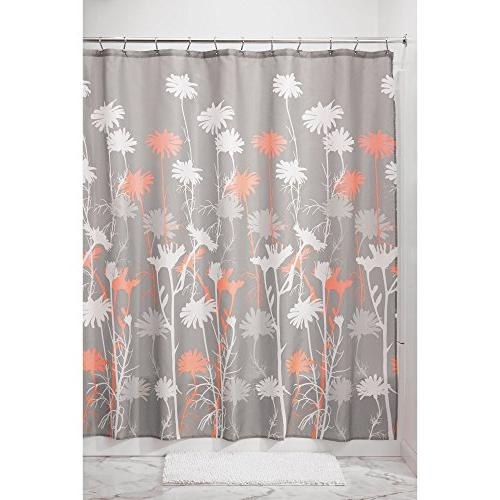 mDesign Bathroom Decor Set Floral Polyester Curtain, Microfiber Non-Slip Bathroom Accent Rug, Plastic Wastebasket Trash - Coral/Gray/White