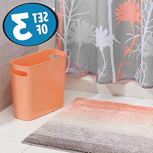 mDesign Piece Bathroom Set Floral Fabric Curtain, Ombre Non-Slip Bathroom Accent Rug, Plastic Wastebasket Can - Coral/Gray/White