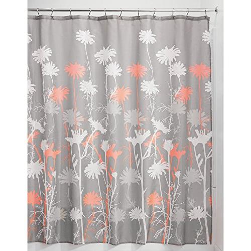 mDesign 3 Bathroom Decor Set Floral Curtain, Bathroom Accent Plastic Coral/Gray/White