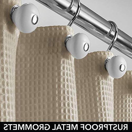 mDesign Shower Curtain Waffle Weave Grommets Bathroom and - x - Dark Khaki