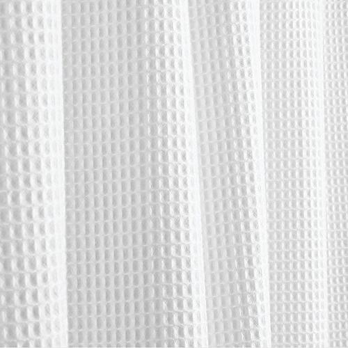 "mDesign Extra Blend Fabric Curtain, Rustproof Metal Grommets Waffle Bathroom Showers Bathtubs 72"" x 96"" - White"