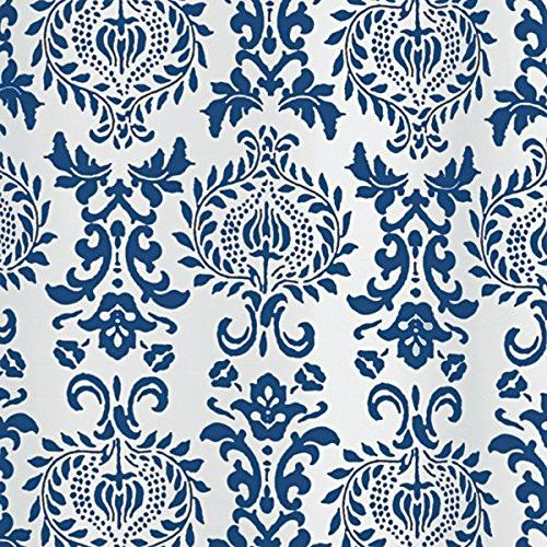 mDesign Toile Fabric Shower Curtain Stall x