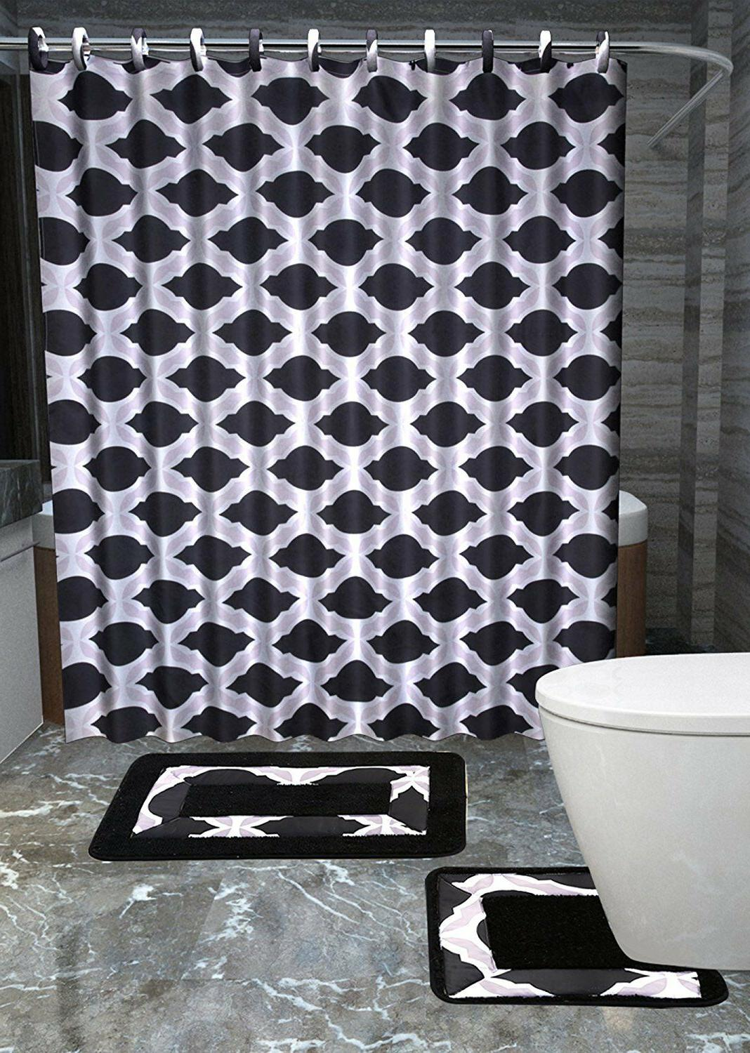 Merlyn 15-Piece Bathroom Accessories Set Rugs Shower Curtain