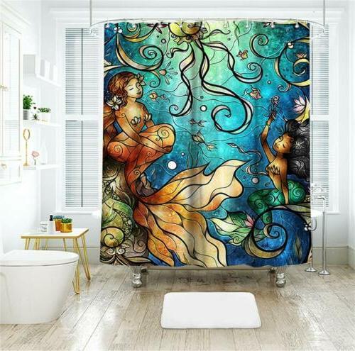 Mermaid Shower Curtain Fairy Tale Girls Ocean Bathroom