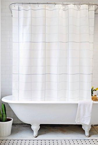 minimal pattern fabric shower curtain