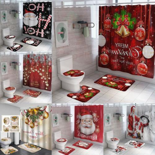 US Christmas Serie Printing Bathroom Shower Curtain Toilet W