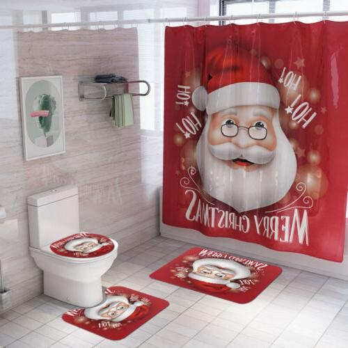 US Christmas Bathroom Shower Curtain Toilet Waterproof Cover Mat