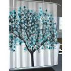 Modern Shower Curtain Blue Tree of Life Abstract Leaf Bathro