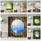 Modern Waterproof Shower Curtain 3D Fabric Pattern Bathroom