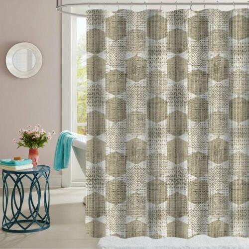 monaco taupe geometric pattern fabric bathroom shower