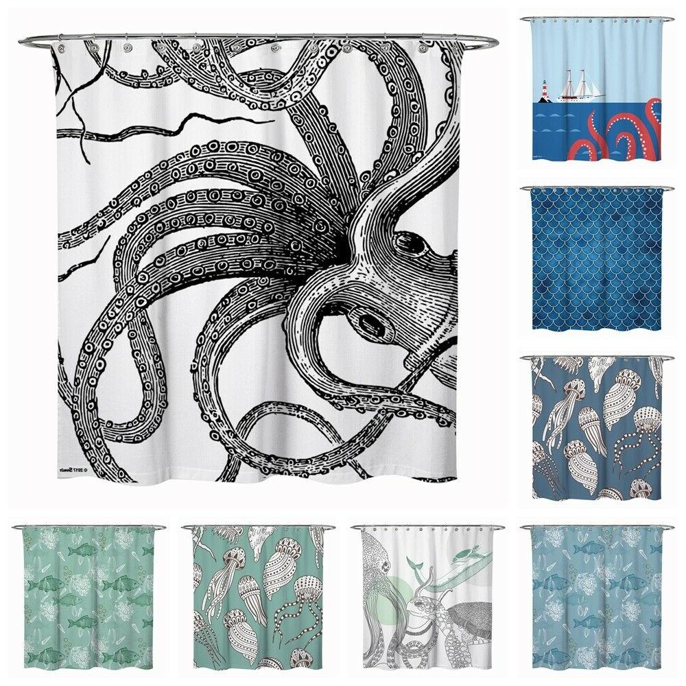 monster octopus turtle fish ocean fabric shower