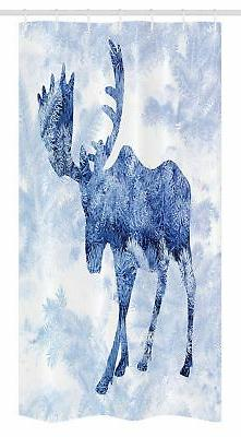 Ambesonne Moose Stall Shower Curtain, Blue Pattern Pine Need