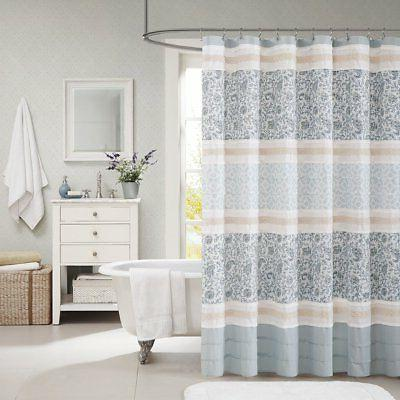 Madison Park Dawn Cotton Fabric Shower Cottage/Country Print Design Curtains for Bathroom, X 72,