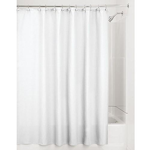 """mDesign Blend Fabric Curtain, Rustproof Metal Grommets Waffle for Showers - 72"""" 96"""" White"""
