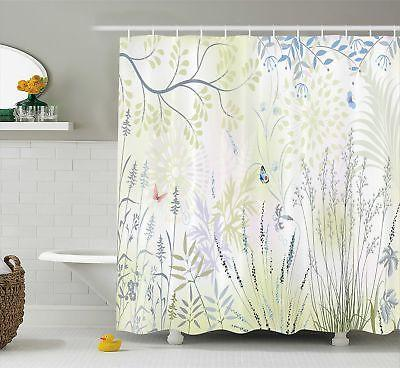 Ambesonne Nature Shower Curtain by, Wild Herbs and Butterfly