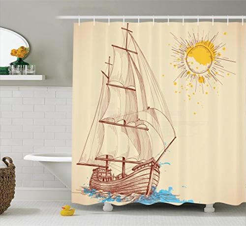 nautical decor shower curtain set