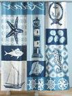 Nautical Fabric Shower Curtain Beach Ocean Fish Seashell Lig